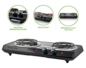 OVENTE BGC102B Countertop Electric Double Burner with Adjustable Temperature Control, 6.0 & 5.7 Inch, Metal Housing, Indicator Light Black
