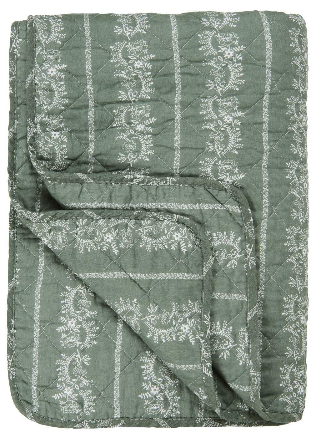 IB Laursen - Quilt - Tagesdecke - staubig grün - Blaumenmuster - 180 x 130 cm
