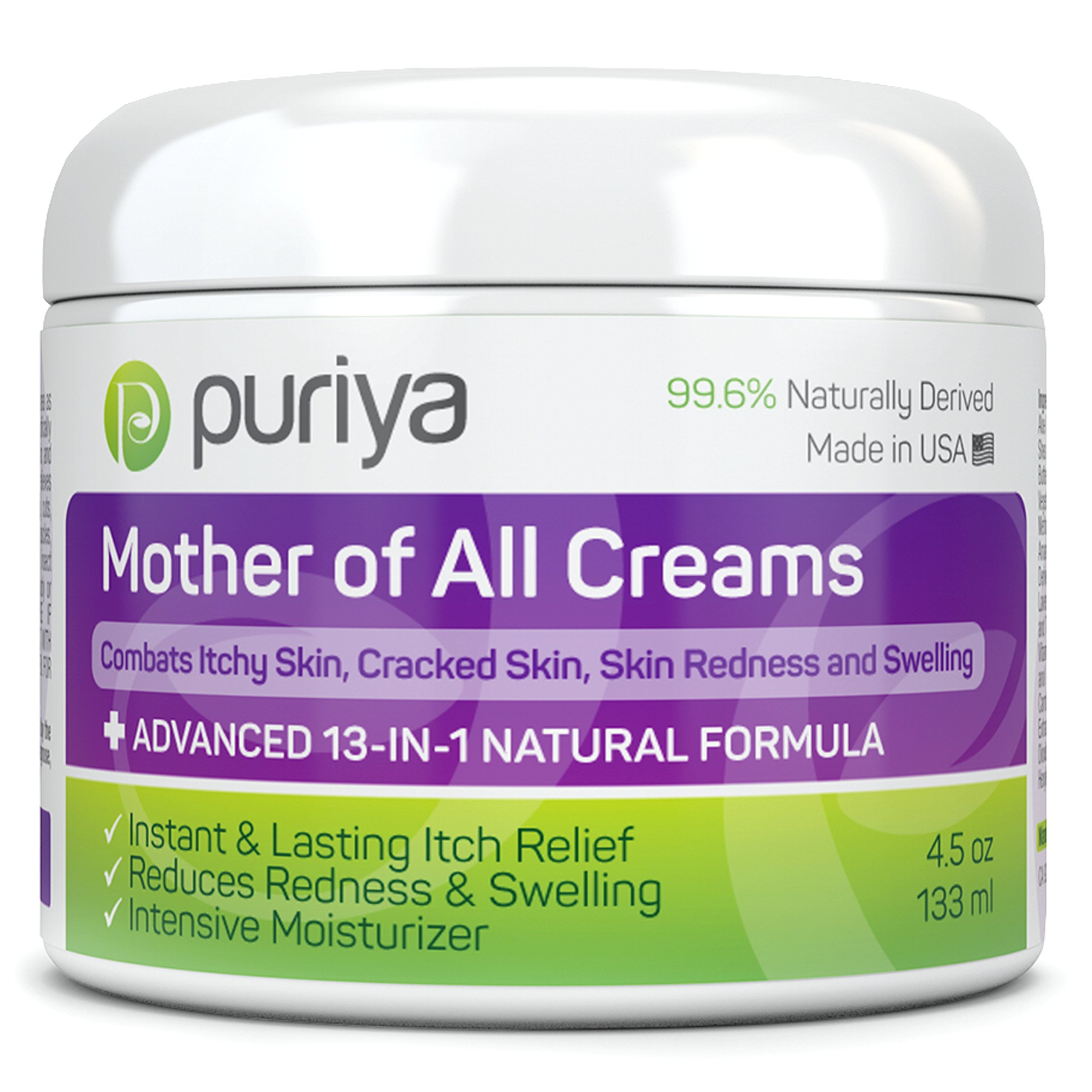 Puriya Cream For Eczema, Psoriasis, Dermatitis and Rashes. Powerful Plant Rich Formula Provides Instant and Lasting Relief For Severely Dry, Itchy, or Irritated Skin (Light Peppermint, 4.5 oz)