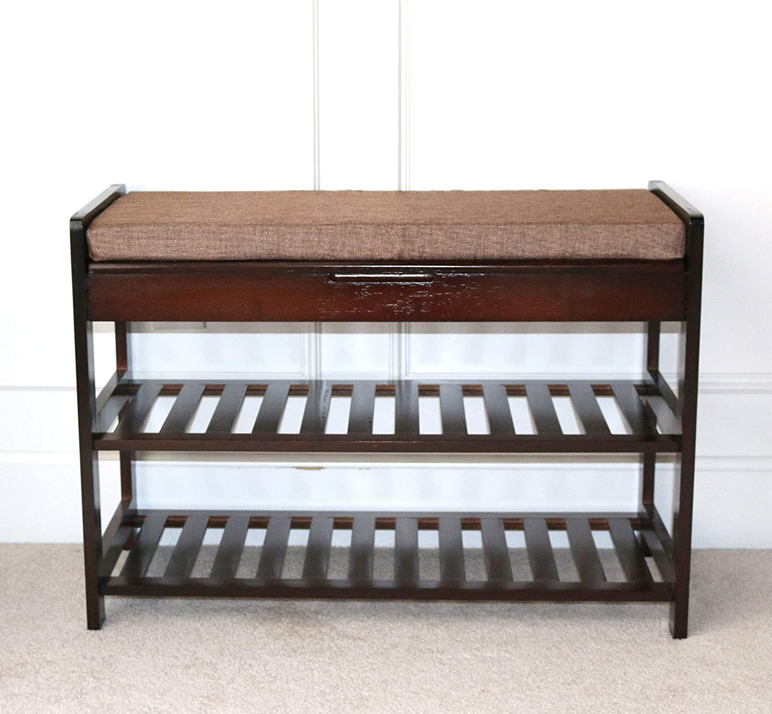 Amazoncom Unicoo Antique Style Bamboo Shoe Bench Rack With