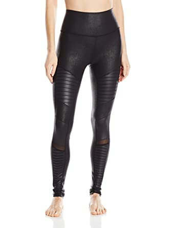 09bb774fdb8df9 ALO Women's High-Waist Moto Leggings Black Performance Leather/Black Glossy  Pants