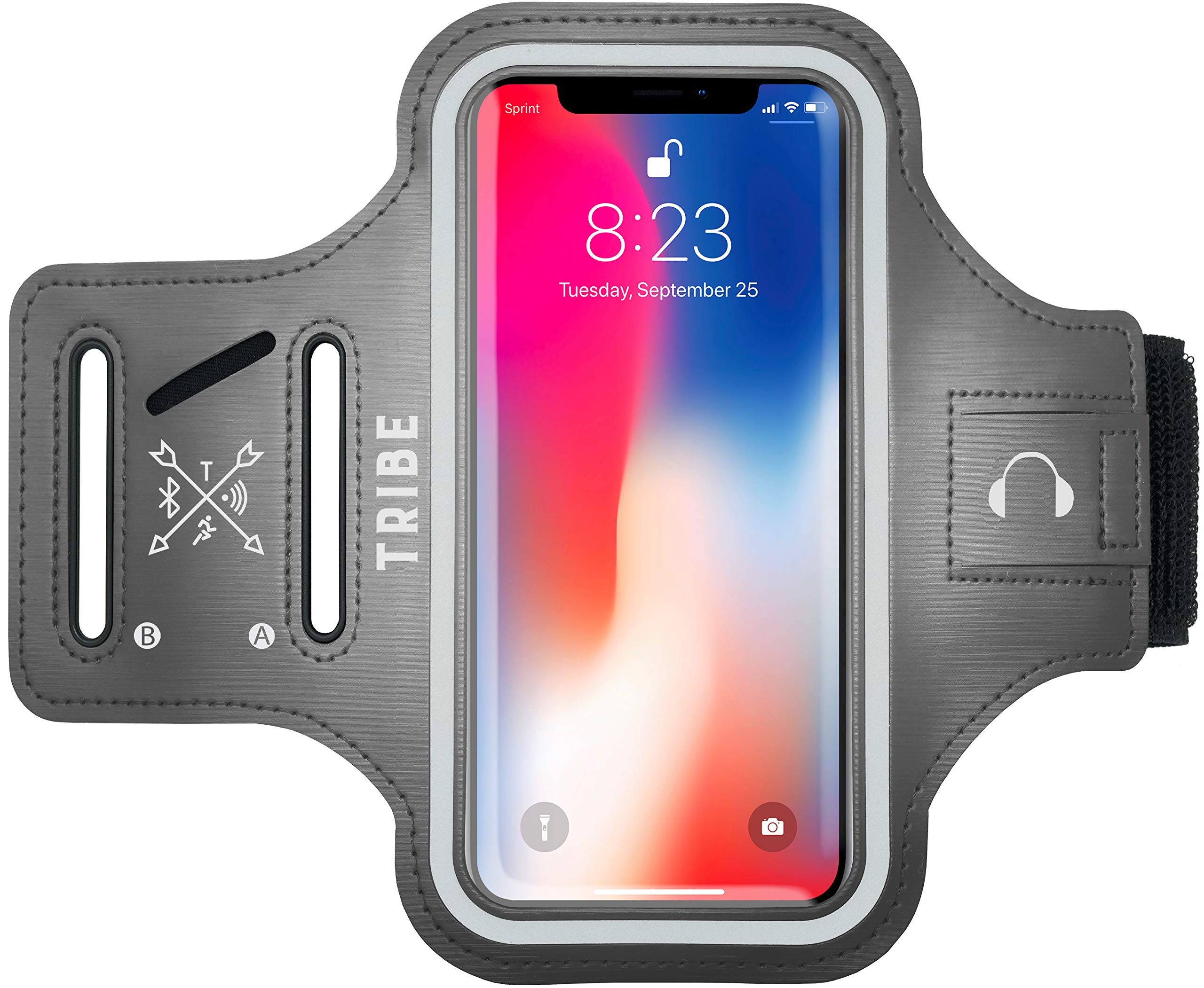 Water Resistant Cell Phone Armband- 5.7 Inch Case for iPhone 7 Plus, 6/6S Plus, S8, S7/S6 Edge, PIxel XL, All Galaxy Note Phones - Adjustable Reflective Velcro Workout Band & Screen Protector, Grey by Tribe