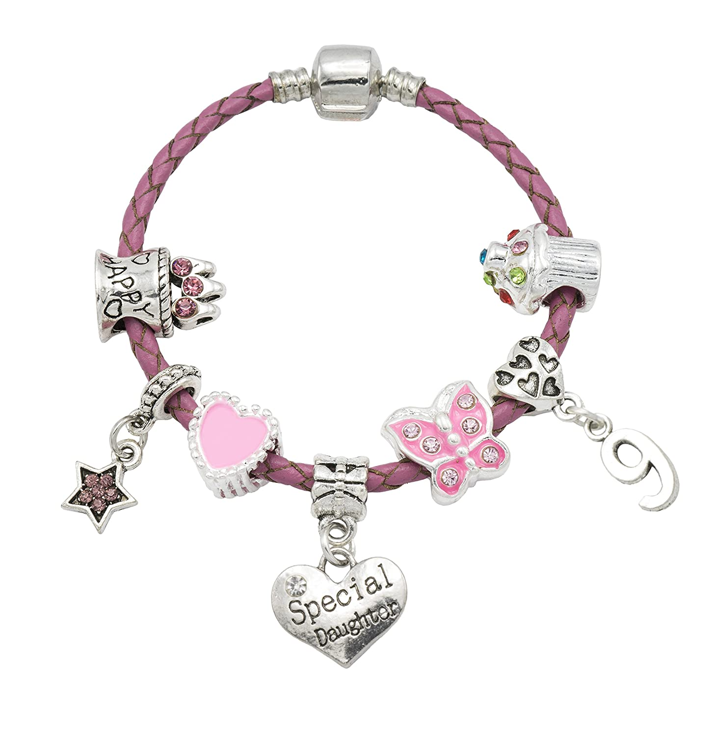 'Special Daughter' - Happy 9th Birthday Bracelet For Girls with Gift Box - Girls Jewellery Jewellery Hut BRSpecial Daughter9-17