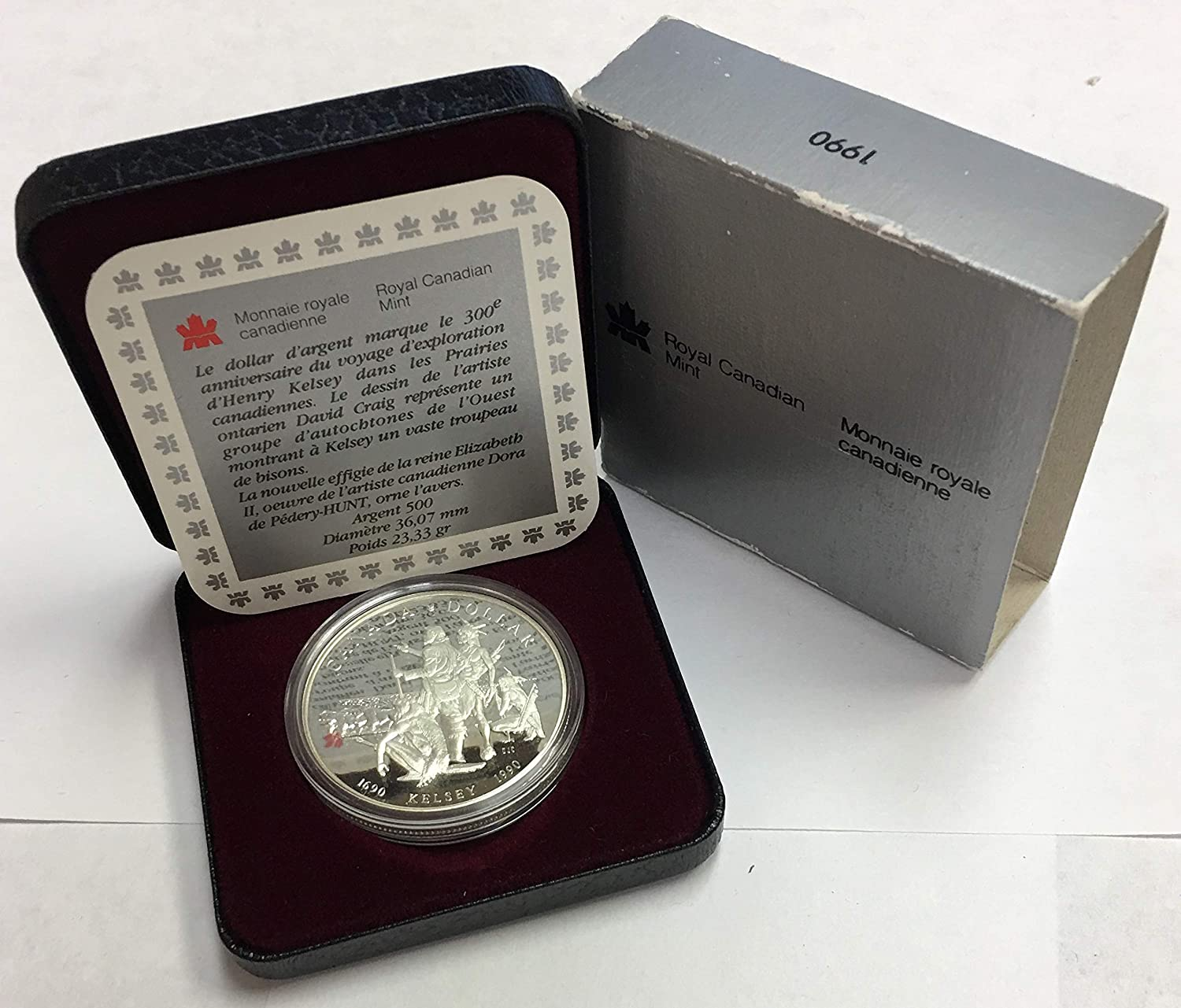 CA 1990 Canada Silver Dollar-300th Anniversary of Henry Kelsey Exploration in Original Box and COA Proof