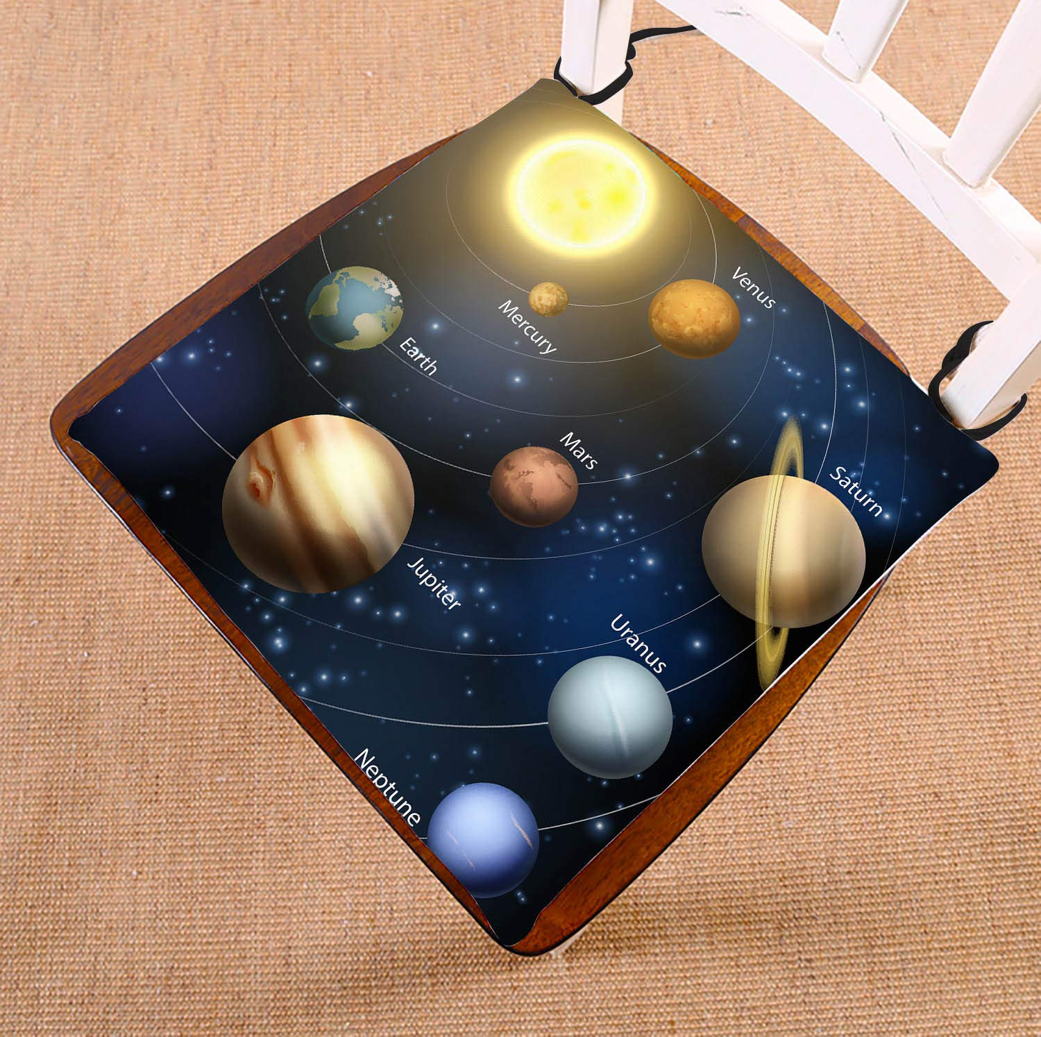 Custom Planetary Orbit Educational Solar System Planets Seat Cushion Chair Cushion Floor Cushion Twin Sides 16x16 inches