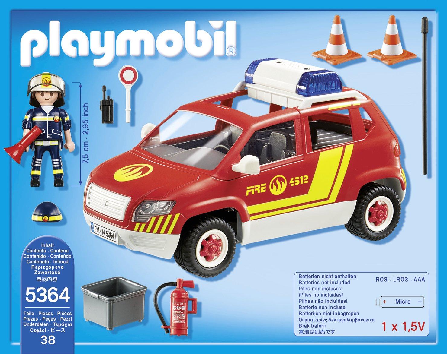 playmobil 5364 jeu de construction vhicule dintervention avec sirne amazonfr jeux et jouets - Playmobil Pompier