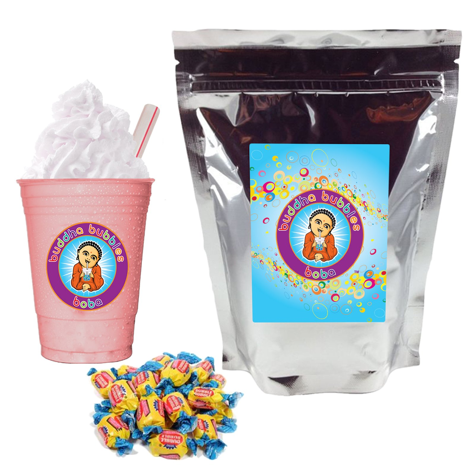 Bubble Gum Boba Bubble Tea Drink Mix Powder By Buddha Bubbles Boba 1 Kilo (2.2 Pounds) | (1000 Grams) by Buddha Bubbles Boba