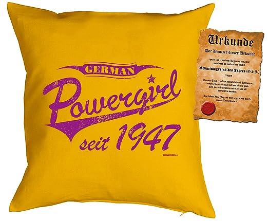 por 70 cumpleaños regalo Idea Cojín con relleno German Power ...