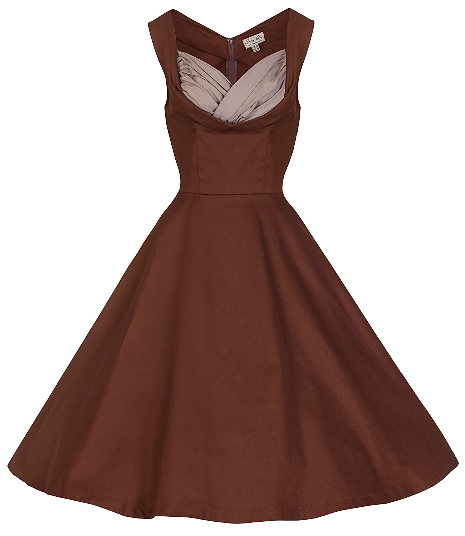 Lindy Bop \'Ophelia\' Vintage 1950\'s Prom Swing Dress (XS, Chocolate ...
