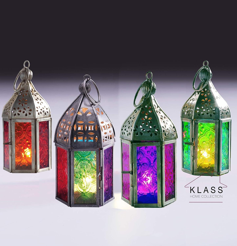 Klass Home Collection Lot de 4 Mini lanternes marocaines Style Vintage Turc int/érieur de Jardin /à Suspendre en Verre