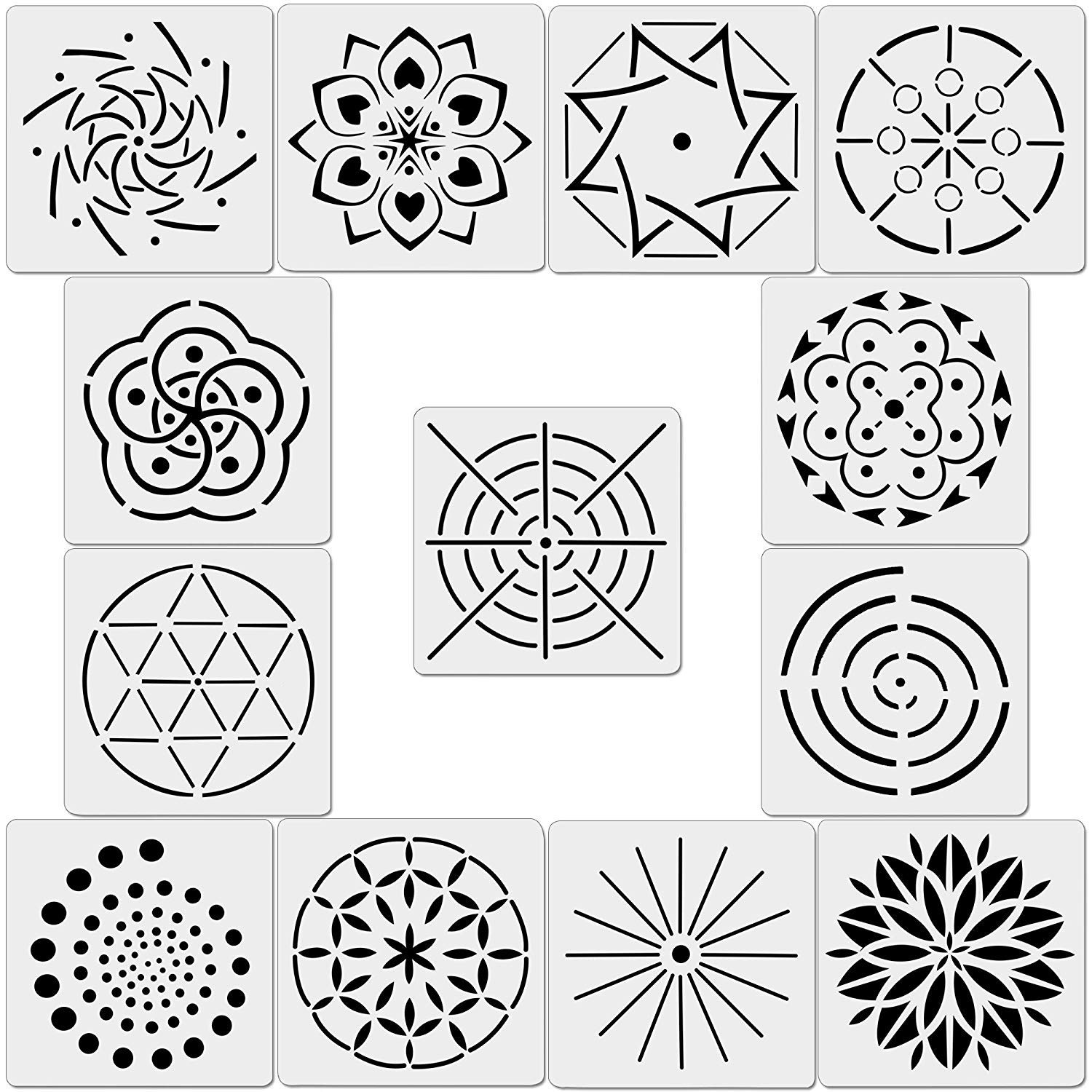 Angshop 13 Pack Mandala Dot Painting Templates Stencils for DIY Painting Art Projects