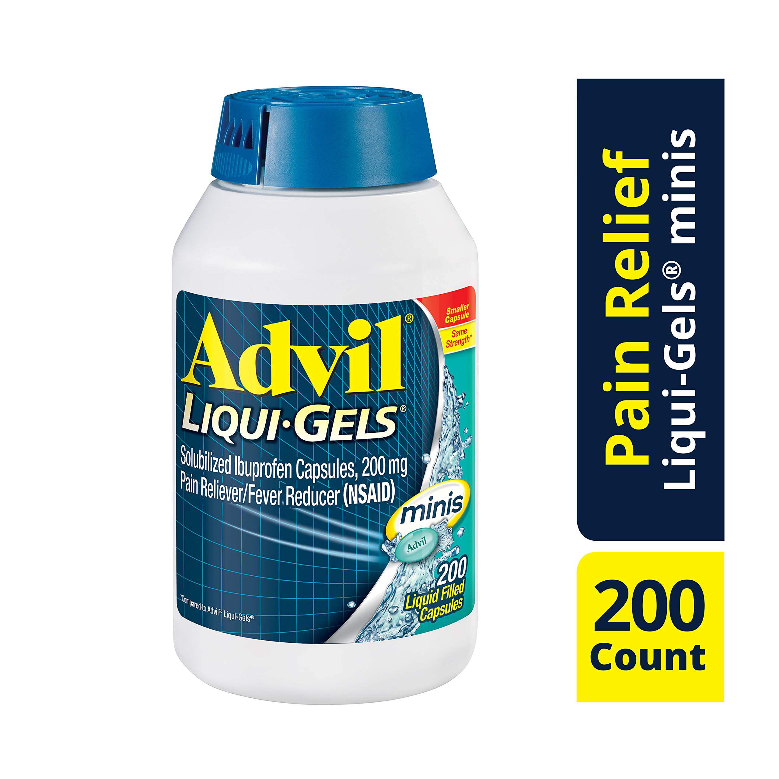 Advil Liqui-Gels Minis, 200 Count, Ibuprofen 200mg, Pain Reliever / Fever Reducer Liquid Filled Capsule, Fast Pain Relief For Headaches, Back Pain, and Muscle Pain, Easy to Swallow by Advil