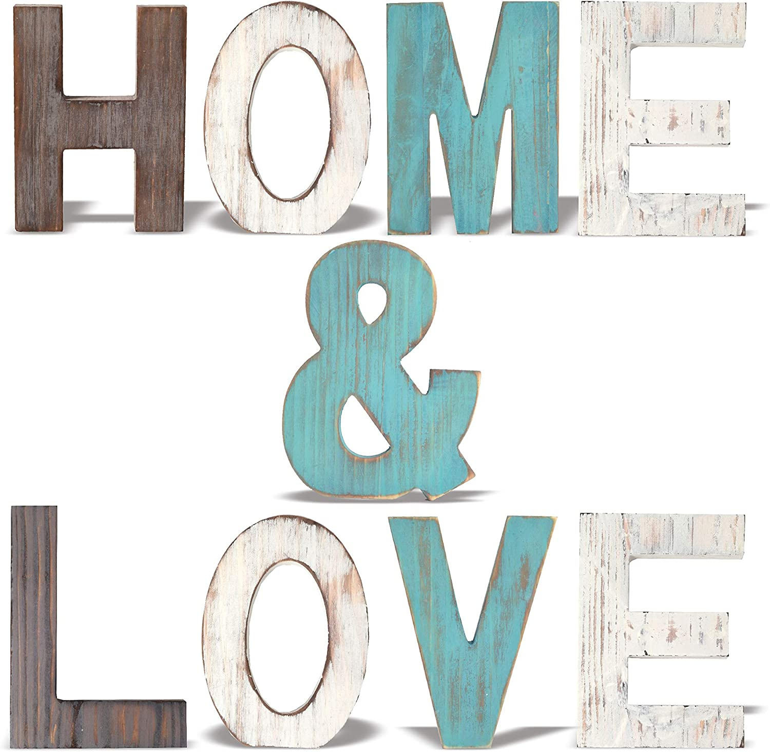 Rustic Wood Home & Love Signs Home Décor |Freestanding Wooden Letters Cutouts for Home Décor|Multi-Color Wooden Signs |Decorative Word Signs|Multicolor Table Decor Centerpiece| (home+love) (Green)