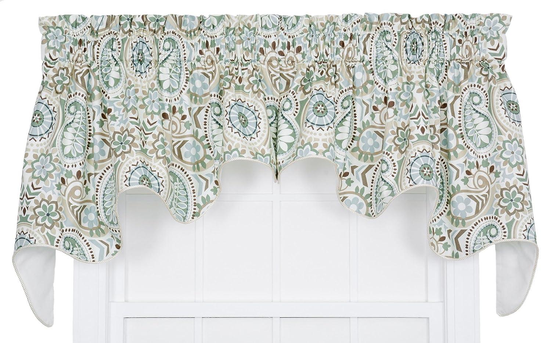 Ellis Curtain Paisley Prism Jacobean Floral Print Lined Duchess Valance Latte