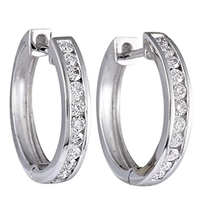 ba8e74d05c6ab Stunning Round Diamond Hoop Earrings in 14K Gold; Choose from 1/4 , 1/3, or  1/2 ctw Diamonds (G Color, SI1-SI2 Clarity)