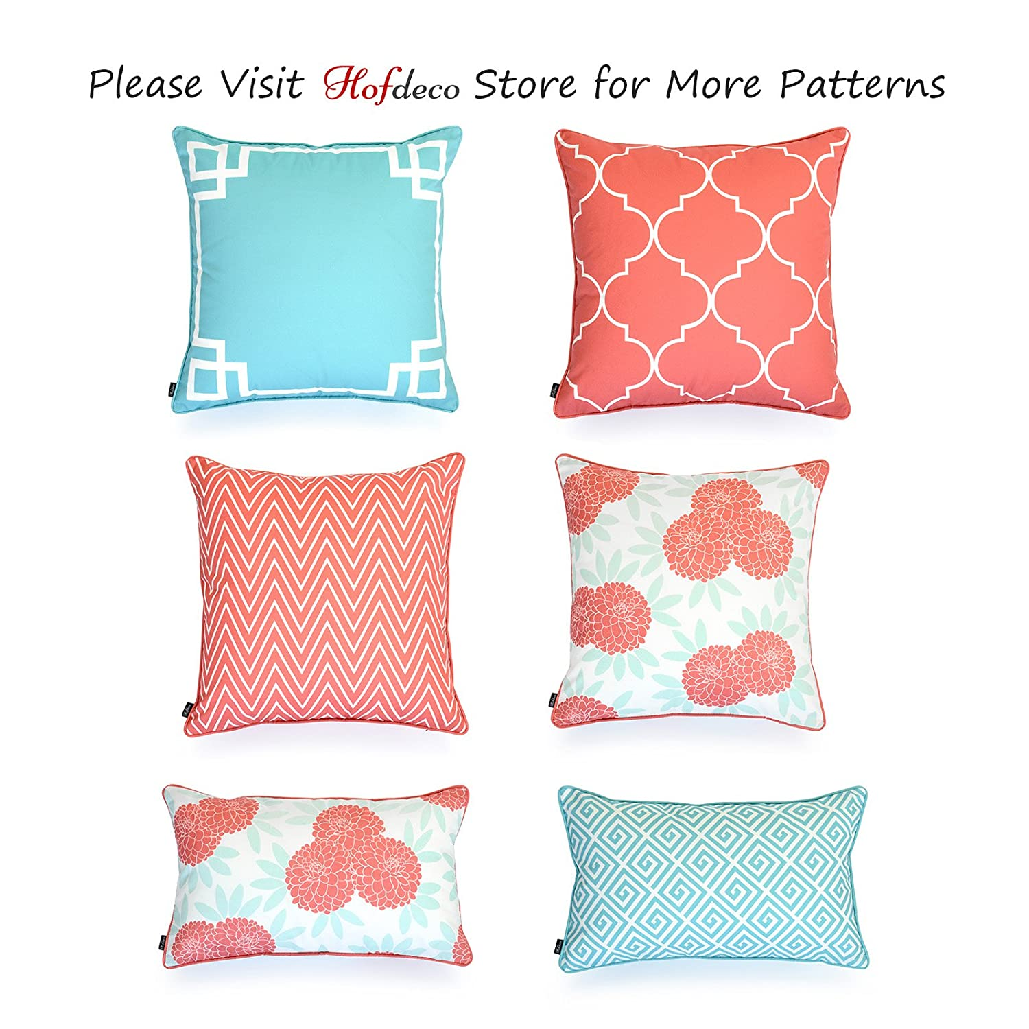 Hofdeco Decorative Lumbar Pillow Cover INDOOR OUTDOOR WATER RESISTANT Canvas Spring Aqua Coral Pink Maze Chinoiserie Floral 12x20 Set of 2