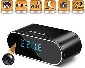 Hidden Spy Camera Wireless WiFi Hidden Camera 1080P Clock Hidden Cameras for Home Security Monitor Video Recorder Nanny Cam 140 Angle Night Vision Motion Detection