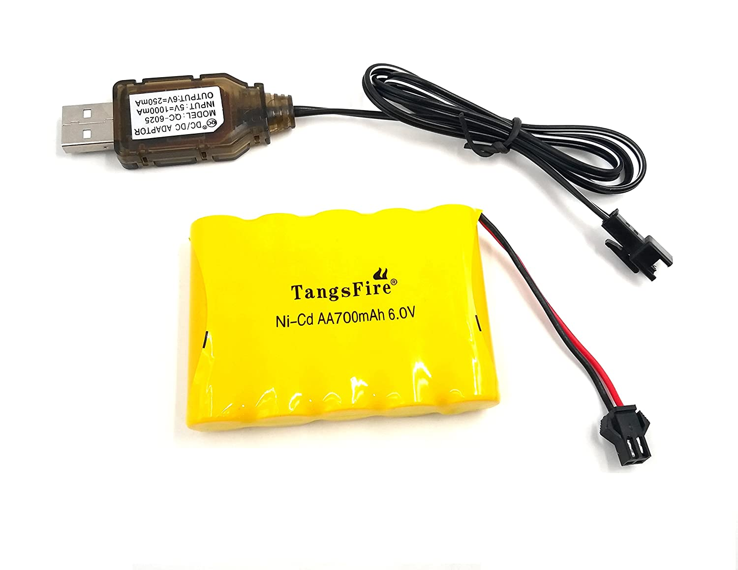 Tangsfire Batería Recargable 6V 700mAh AA Ni-CD Packs SM 2P Plug para Juguetes Power Bank + Cargador