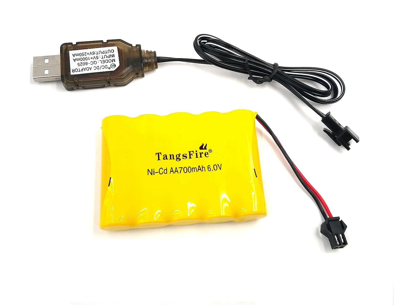 Tangsfire Batería Recargable 6V 700mAh AA Ni-CD Packs SM 2P Plug para Juguetes Power Bank + Cargador