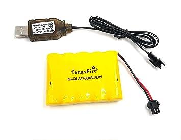 Tangsfire Batería Recargable 6V 700mAh AA Ni-CD Packs SM 2P Plug ...