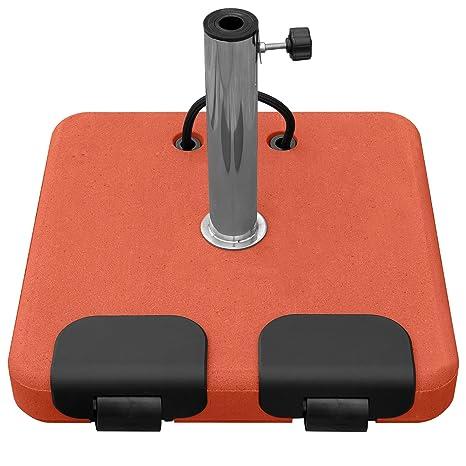 Soporte para sombrilla de hormigón, color terracota, con ruedas 45 kg, 5 adaptador