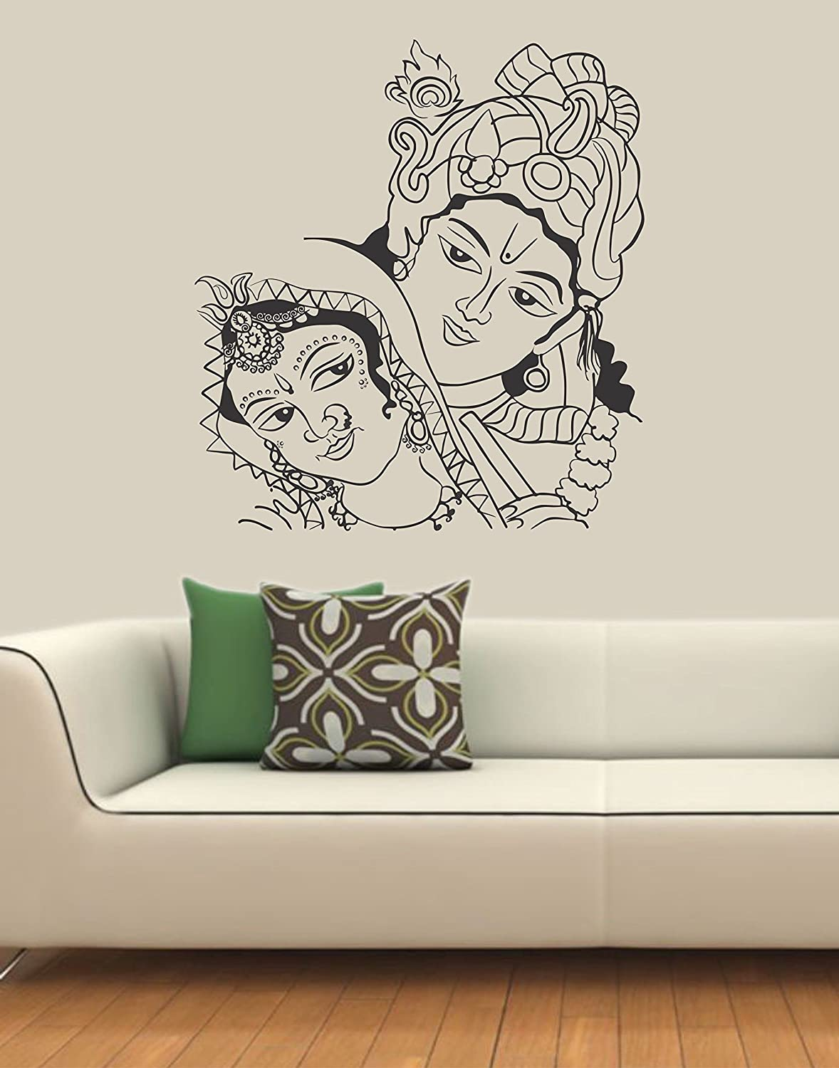 Wall stickers radha krishna - Buy Ddreamz Face Of Radha Krishna Vinyl Wall Sticker Black Online At Low Prices In India Amazon In