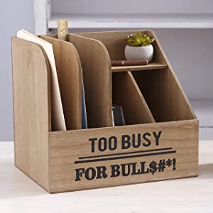 The Lakeside Collection Humorous Office Organizers - Too Busy Desktop File Storage