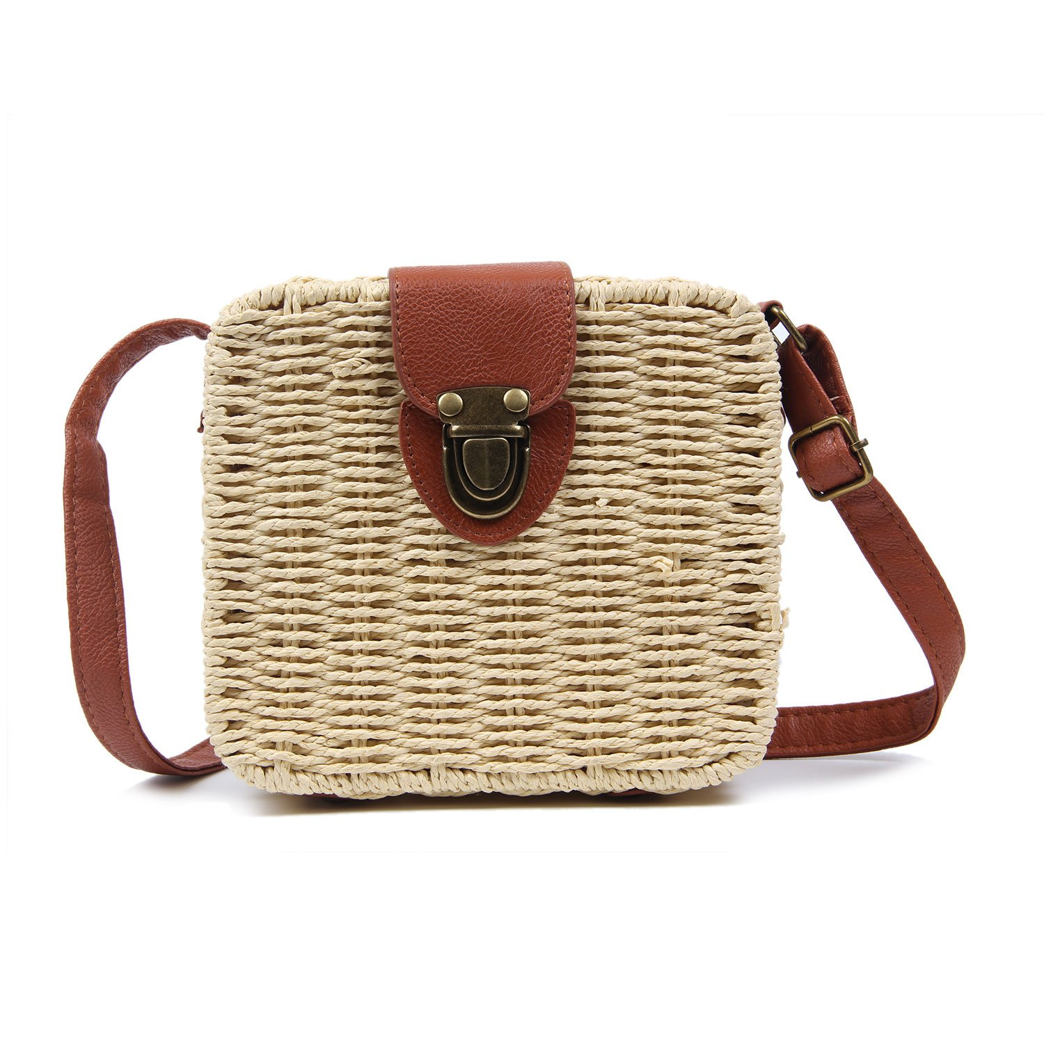 Vintage Straw Woven Satchel Messenger Womens Beach Crossbody Shoulder Bag
