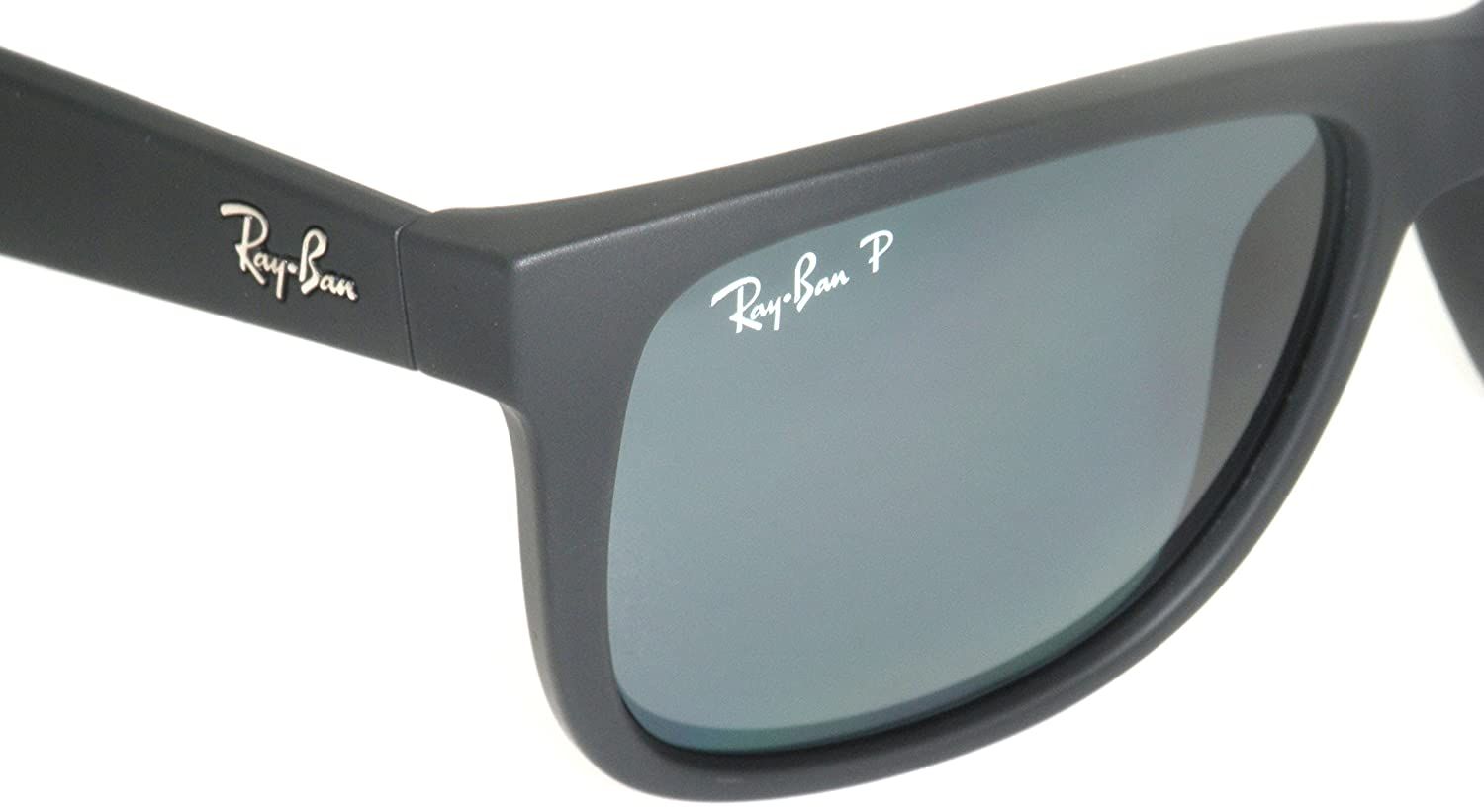 Amazon.com: Authentic Ray-ban Justin RB 4165 622/2V 55mm Rubber Black / Dark Blue Polarized: Clothing