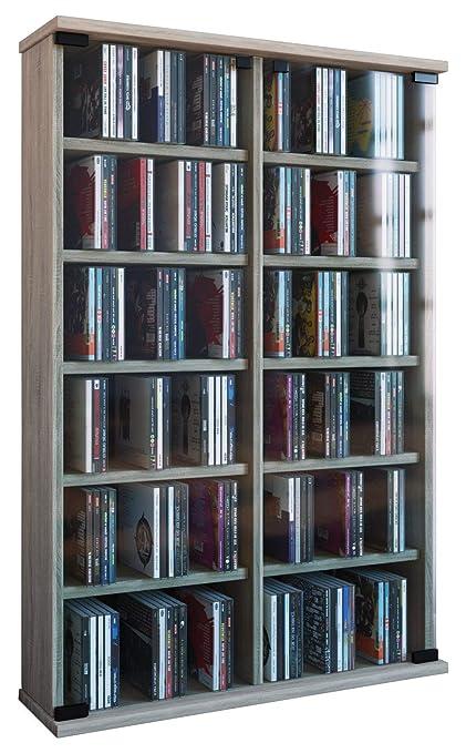 VCM Regal DVD CD Rack Turm Medienregal Medienschrank Aufbewahrung Holzregal  Standregal Möbel Bluray Sonoma-eiche \