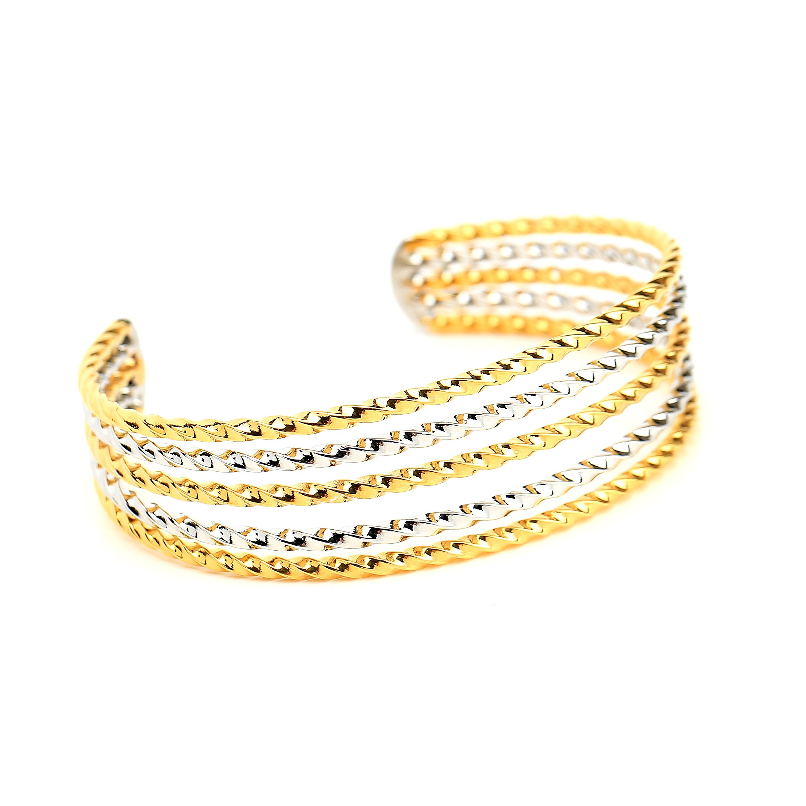 United Elegance - Contemporary Two-Tone (Gold & Silver Tone) Open Twisted Bangle Bracelet Cuff