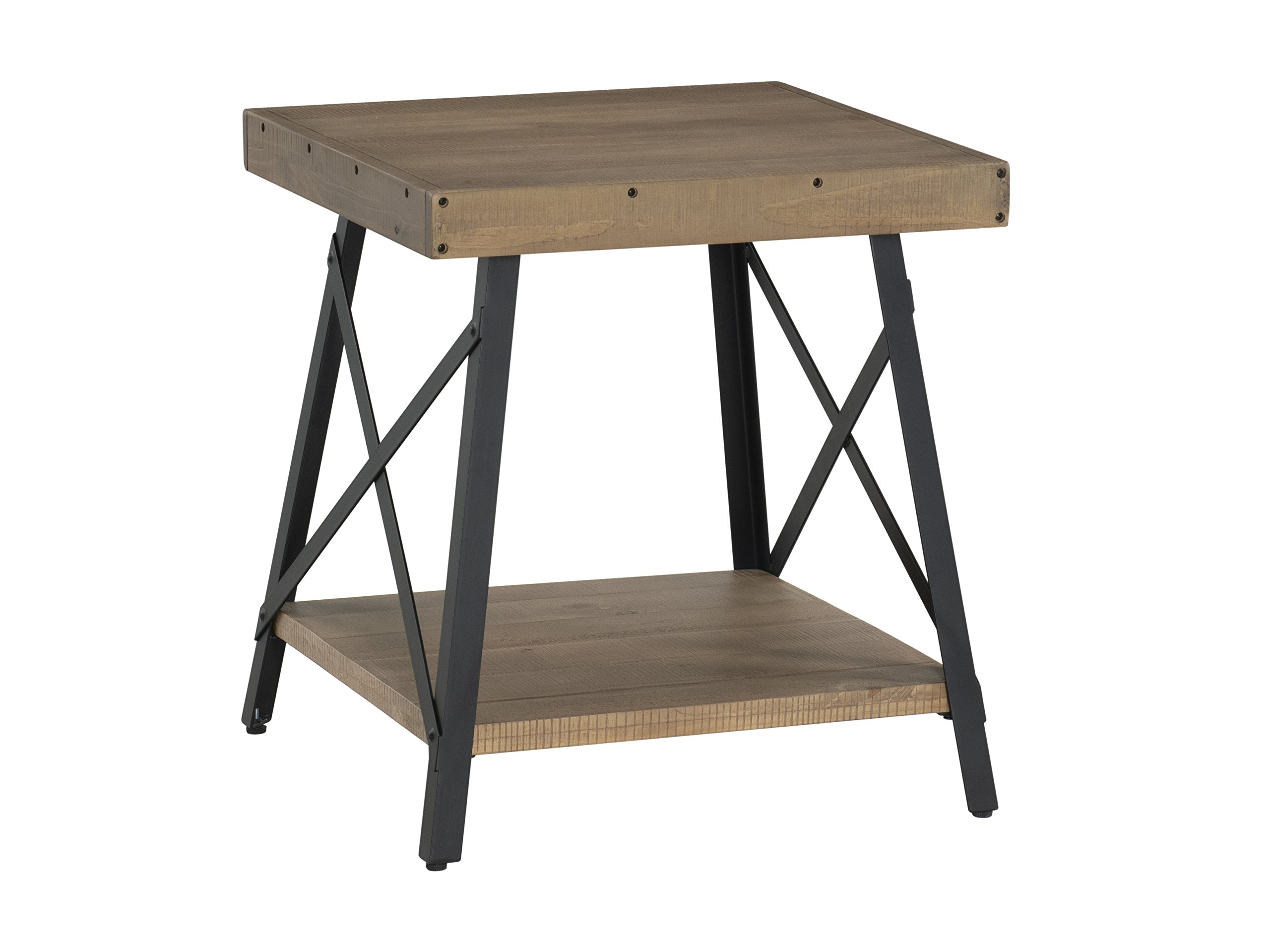 "Martin Svensson Home 890434 Xavier End Table, Reclaimed Natural - Finish: Reclaimed Natural - reminiscent of Reclaimed wood found in an old barn or warehouse Crafted from solid wood - New Zealand pine with rough hewn saw marks Exposed rivets across the Top and Black Steel metal ""x"" cross on the end caps give it a distinct industrial and rustic look - living-room-furniture, living-room, end-tables - 81vtPvZVvcL -"