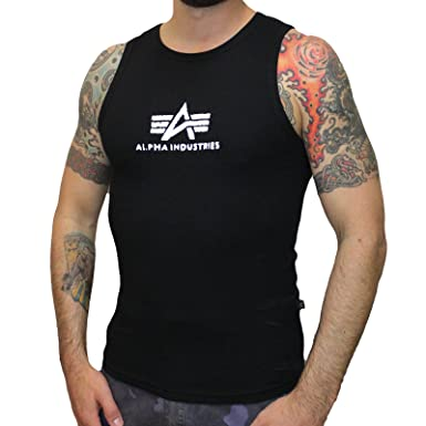 3d59cf23abee62 Alpha Industries Logo Tank Top in Black (L)  Amazon.co.uk  Clothing