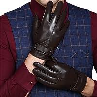 KelaSip Guanti invernali classici da uomo, guanti in pelle di agnello da uomo, lussuoso stile con guanti touch screen