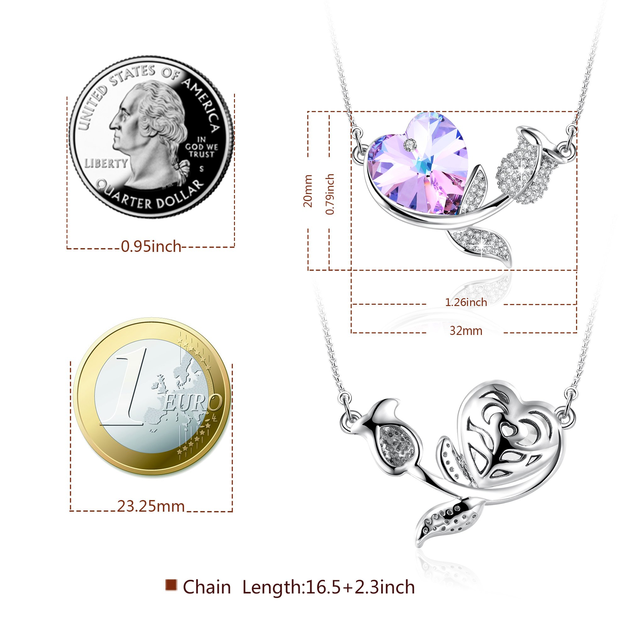 Angelady Rose Romance Love Heart Pendant Necklace Crystal from Swarovski,Gifts for Women Mom Girl Miss Lover Graduation Present for her (Blue Purple)