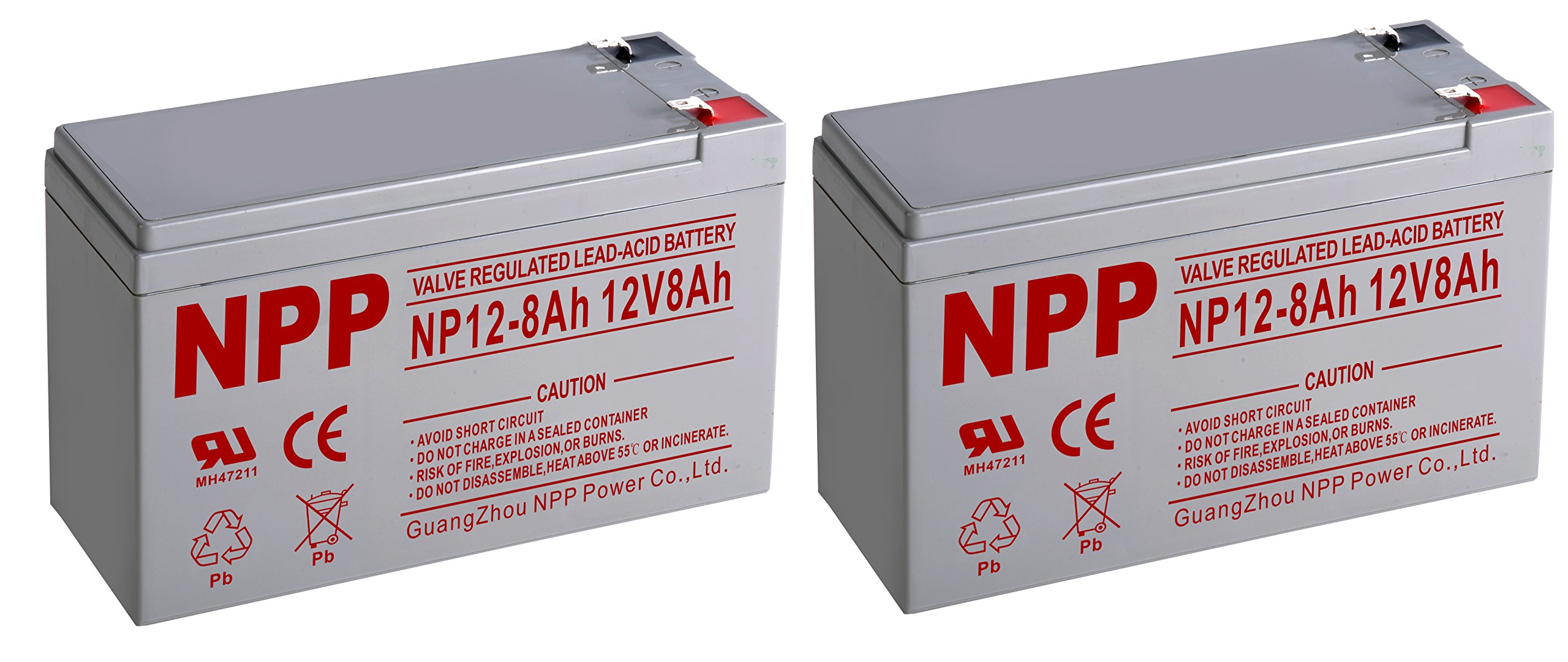 NPP NP12-8Ah Sealed Lead Acid 12Volt 8Ah Battery With F2 Style Terminals/(2pcs)