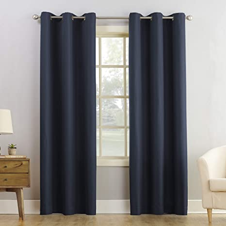 Amazon Com No 918 Montego Casual Textured Grommet Curtain Panel 48 X 84 Navy Blue Home Kitchen