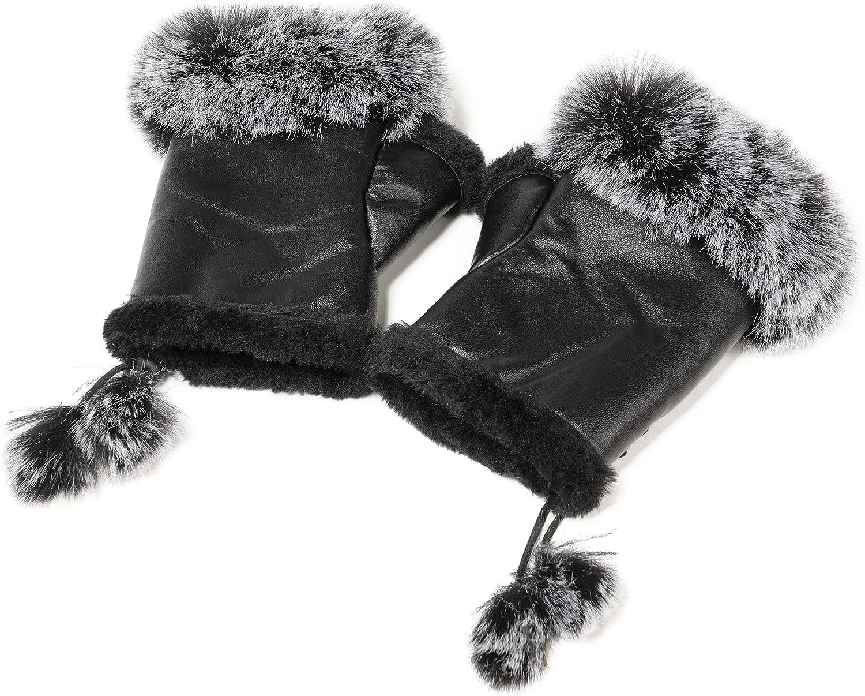 Fur Story Women's Faux Fur Winter Fingerless Gloves Lined Mittens Warm Wrist Hands Warmer…