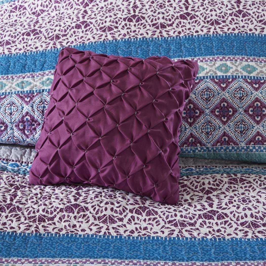 4 Piece Girls Dark Purple Blue Grey Bohemian Stripe Coverlet Twin XL Set Girly Intricate Geometric Flower Diamond Themed Pattern Gray Off White Stylish All Over Striped Boho Chic Floral Bedding