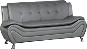 Container Furniture Direct Arul Leather Air Upholstered Mid Century Modern Sofa, 77.5