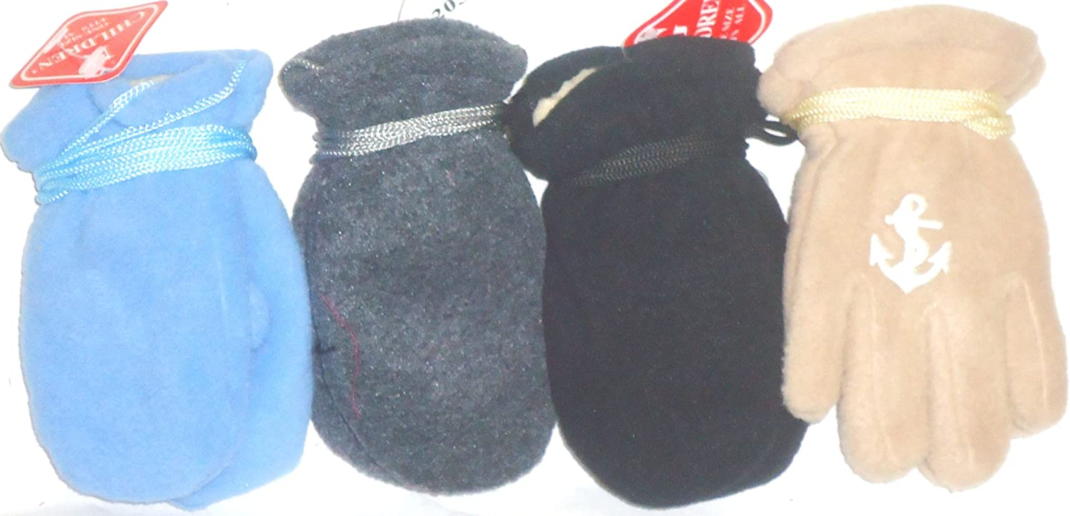 Four Pairs Mongolian Fleece Multicolor Mittens for Ages 3-12 Months