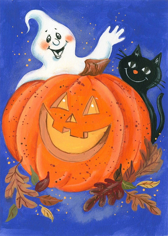 Pumpkin Ghost Halloween House Flag Black Cat Jack Olantern Holiday 28 x 40