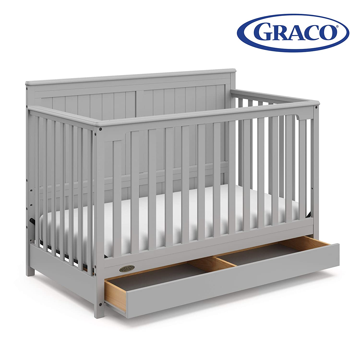 Graco Hadley 4-in-1 Convertible Crib with Drawer,Pebble Gray,Easily  Converts to Toddler Bed Day Bed or Full Bed,Three Position Adjustable  Height ...