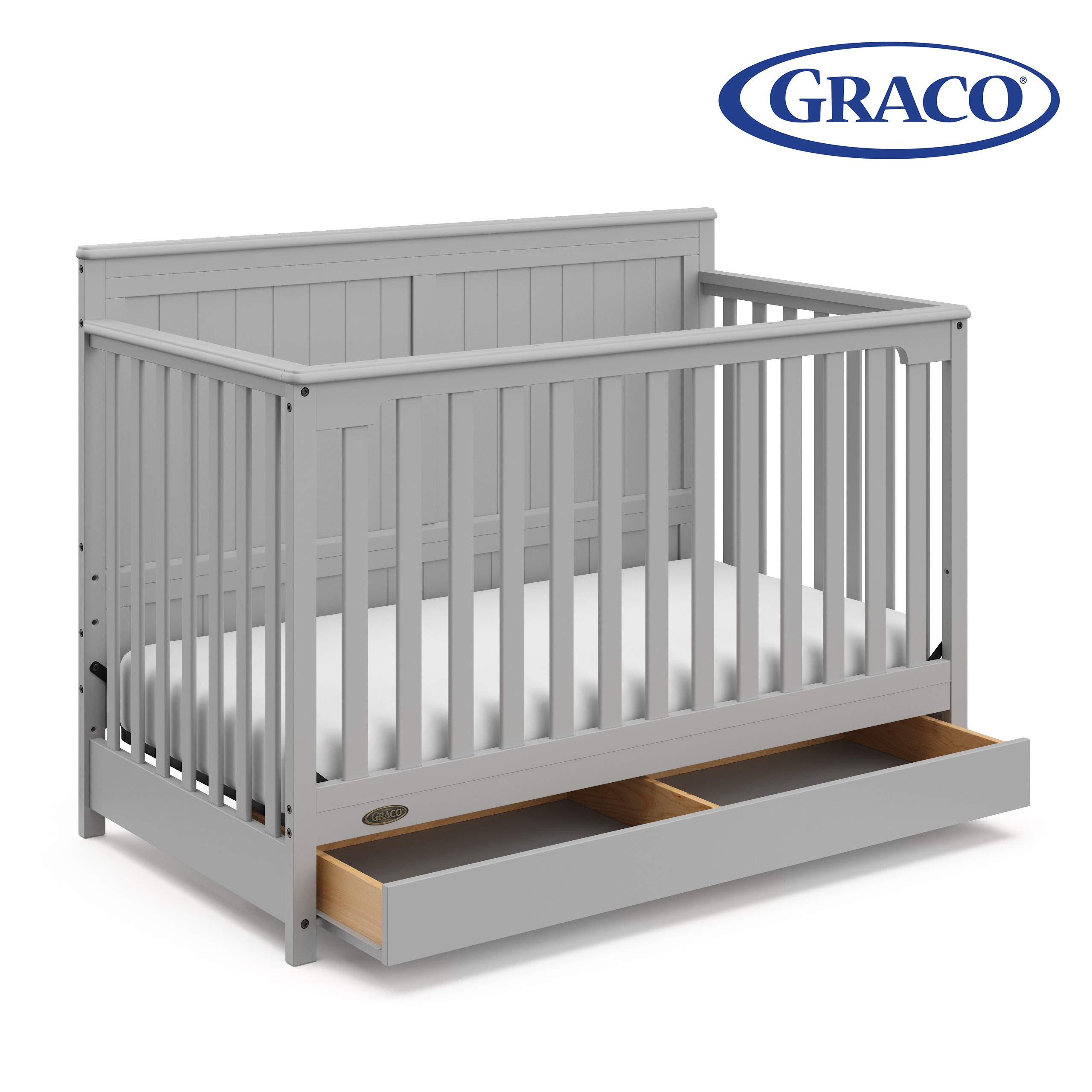 Graco Hadley 4-in-1 Convertible Crib with Drawer,Pebble Gray,Easily Converts to Toddler Bed Day Bed or Full Bed,Three Position Adjustable Height Mattress,Some Assembly Required (Mattress Not Included) by Stork Craft