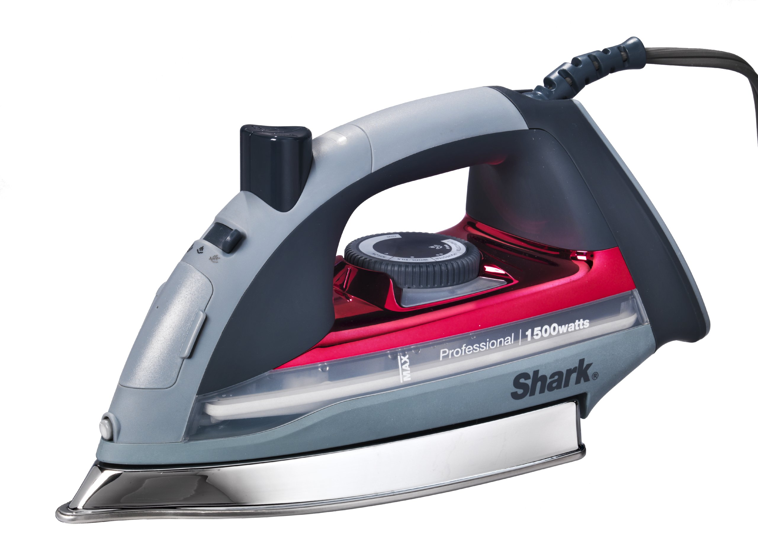Shark Professional Steam Iron, Garment Steamer with Auto-Shut Off and Stainless Steel Soleplate, 1500 Watts (GI305), Red
