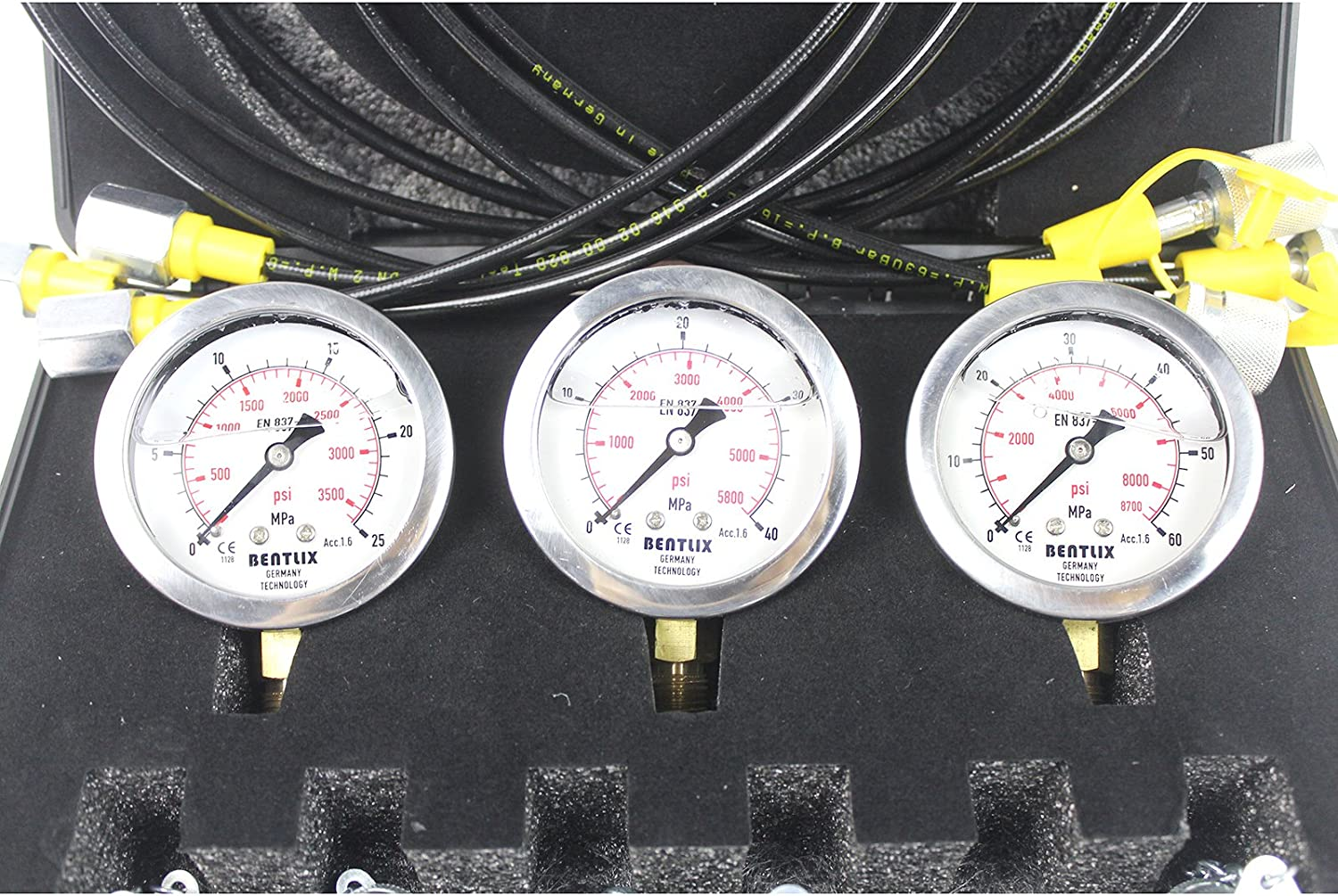 SINOCMP Hydraulic Pressure Gauges Kit Hydraulic Gauge Kit for Komatsu Excavator 4 160cm Long Test Hoses and 4 Pressure Gauges 10 Couplings 2 Year Warranty Lightweight Black Plastic Box 3KG