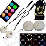 Multifunktions-LED Spinnen Poi Set + Reisetasche! Nachtleuchtender Poi Wiederaufladbar Mit Micro USB Ladekabel! Für Anfänger und Profi
