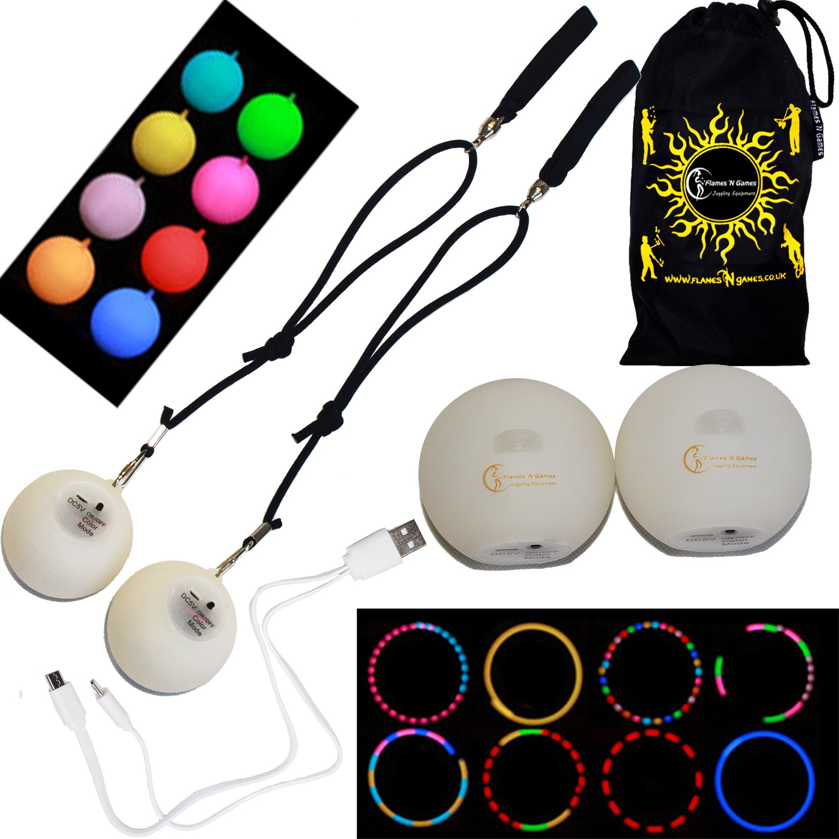 Multifunction LED Spinning POI Rechargeable With Micro USB Charging Cable + Travel Bag! Bright Light Up Glow Poi Perfect Night Time Pois For All Ages