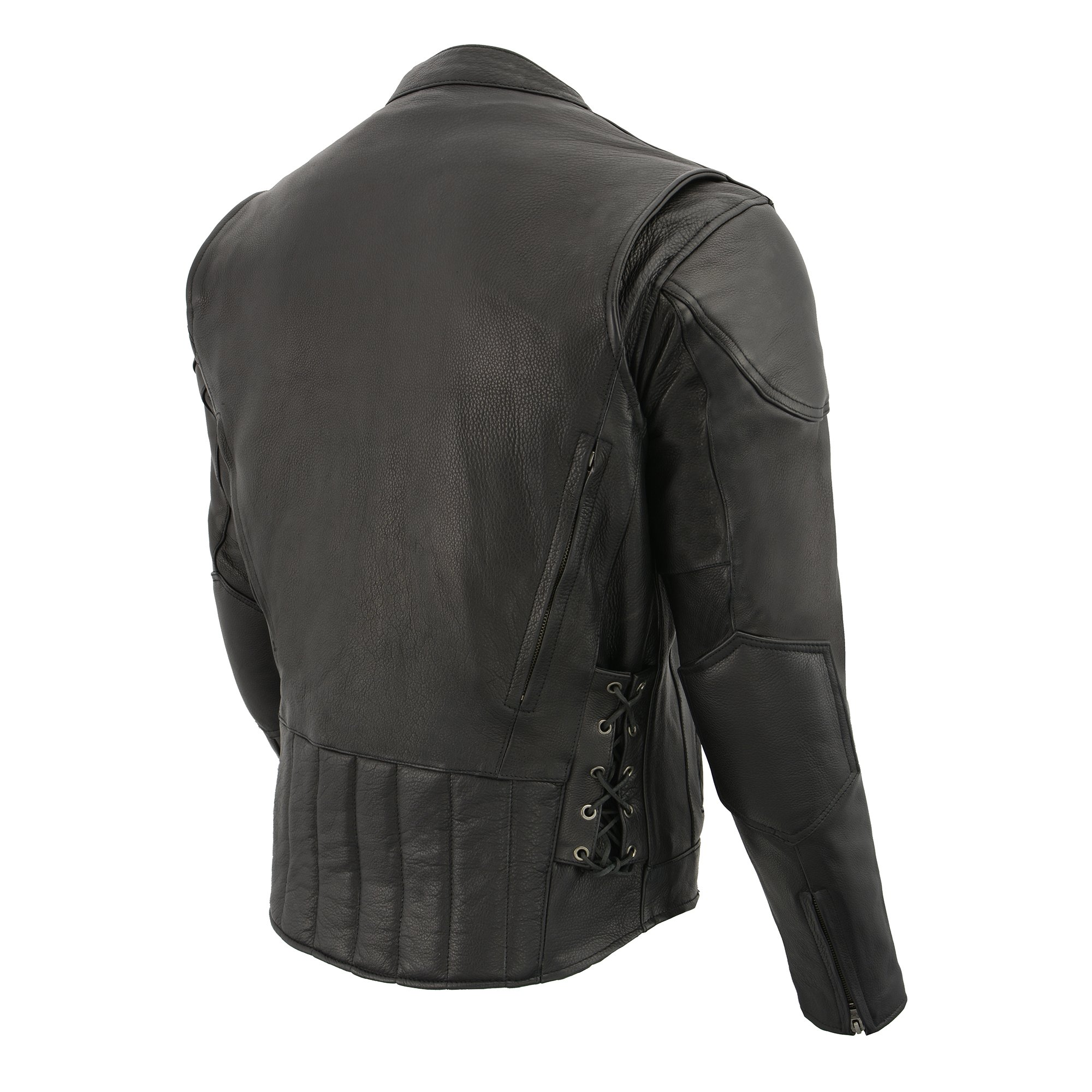 Milwaukee Leather Men's Side Lace Vented Scooter Jacket (Black, 5X-LargeTall) by Milwaukee Leather (Image #2)