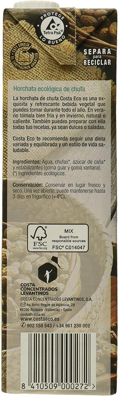 Costa Eco - Horchata de Chufa Ecológica, 6 x 1L: Amazon.es ...